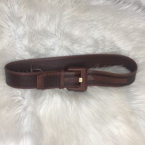 Vince camuto brown leather textures wide belt S
